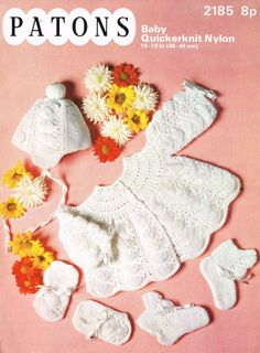 Patons 2185 baby matinee coat and bonnet set vintage by Ellisadine, £1.00