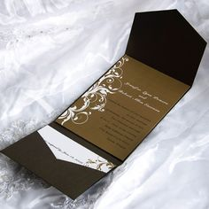 classic brown pocket wedding invitations with free response cards EWPI028 as low as $1.69