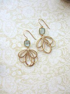 A Gold Plated Leaf Feather Dangle Aqua Blue Glass di Marolsha