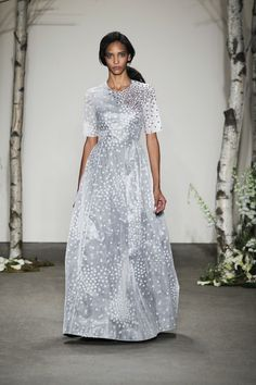 Birch white paper nylon gown with blackberry floral sequins on tulle appliqué