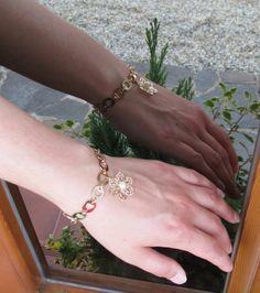 Elegant chain bracelet with flower pendant in by NevelynkaNasha