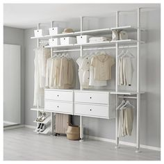 ELVARLI 4 sections, white. ELVARLI storage system adapts to your space. The open solution with durable bamboo shelves creates an attractive display of your belongings. Ikea Closet, Closet Bedroom, Bedroom Storage, Closet Space, Closet Doors, Elvarli Ikea, Dressing Ikea, Dressing Rooms, Bamboo Shelf