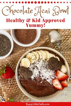A delicious healthy smoothie bowl made with acai fruit frozen bananas and chia seeds. This is great for a protein breakfast in the mornings or a yummy snack the kids will love. Acai Healthy, Yummy Healthy Snacks, Delicious Fruit, Healthy Smoothies, Smoothie Recipes, Healthy Breakfasts, Acai Smoothie, Smoothie Bowl, Acai Fruit