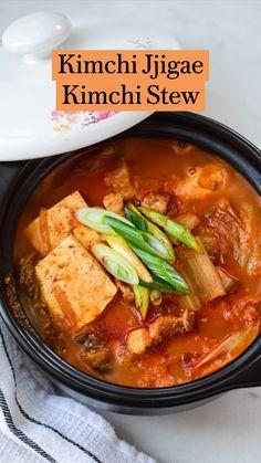 Kimchi Jigae Recipe, Jjigae Recipe, Vegetarian Recipes, Cooking Recipes, Healthy Recipes, Cooking 101, Cooking Ideas, Healthy Food, Yummy Food