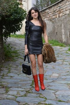 Valentine's Day Outfit Inspo ♥ One Shoulder Leather Dress and Isabel Marant Lexing Boots