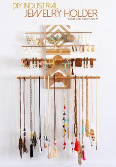 DIY Industrial Jewelry Organizer Rack madeinaday.com