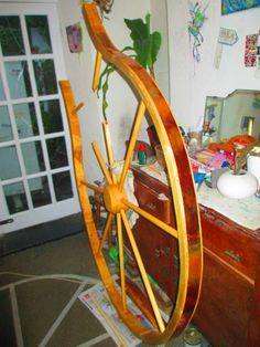 A spoked wheel that i created for a site specific brief. Made from pine, tropical hardwood, and copper.