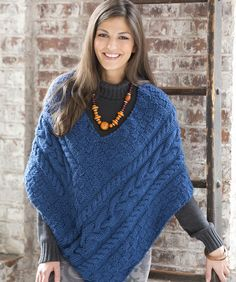 Cabled Poncho By Ann Regis - Free Knitted Pattern - (redheart)
