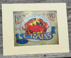 Crab Print with MAT, original art, Steamed Crabs, Chesapeake Bay,Maryland, wall hanging decor,seafood sign,. $15.00, via Etsy.