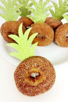 Pineapple Top Donut Toppers Aloha Cupcake Toppers Pineapple