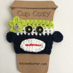 Handmade Crocheted Seattle Seahawks 12th Man Sock Monkey Fan Reuseable Cup Sleeve Cozy 100% Cotton w/Heart Charm Blue Green GO HAWKS!! by kitchenklutter on Etsy