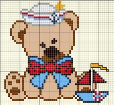 Kawaii Cross Stitch, Cross Stitch Baby, Cross Stitch Kits, Counted Cross Stitch Patterns, Cross Stitch Charts, Pixel Crochet, Crochet Cross, Alpha Patterns, Loom Patterns