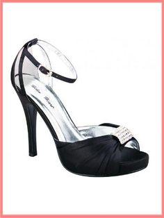 $52 BM Shoes? Also comes in cobalt blue. Black Satin Ankle Strap Peep Toe High Heel Shoes