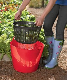 Rinse vegetables right out in the garden and then use the water on the plants. Could possibly make something like this with a tub & basket from the dollar store?