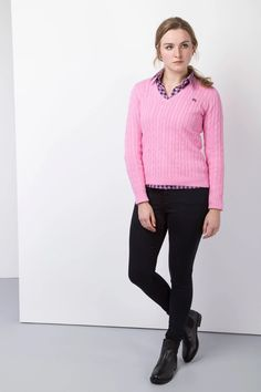 Ladies Rydale Cable Knit V Neck Jumper Ladies Knitwear, Preppy Sweater, Chunky Knit Jumper, Knitting Designs, Jumpers, Knits, Cotton Fabric, Normcore, V Neck