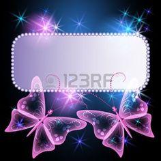 butterfly star: Arrière-plan éclatant avec billboard, papillon transparent et étoiles  Illustration