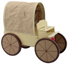 Awesome covered wagon craft from recyclables.