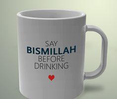 I Love Islam: Say Bismillah before drinking Water Islamic Decor, Islamic Wall Art, Islamic Gifts, Islamic Quotes Wallpaper, Islamic Love Quotes, Religious Quotes, Girl Gift Baskets, Love In Islam, Ramadan Gifts
