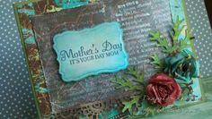 Mother's Day Card ~*~ Well Defined Backgrounds rubber stamp set ~*~ Rustic Chic paper stack ~*~ All from Red Rubber Designs www.Red-Rubber-Designs.com