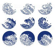 Water Ocean Wave Line Logo Illustration . Water Ocean Wave Line Logo Illustration . Japanese Drawings, Japanese Artwork, Japanese Tattoo Art, Tattoo Japonais, Whatsapp Logo, Wave Illustration, Japanese Illustration, Japan Logo, Japanese Tattoos
