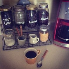 Love this Idea, At home coffee bar. could use jars for cream, sugar ect.