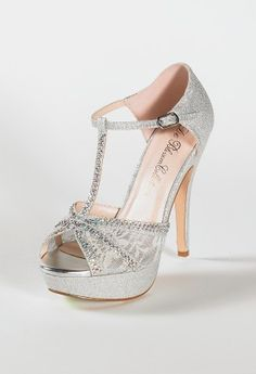 High Heel Glitter Sandal with Mesh and Stones from Camille La Vie and Group USA prom shoes