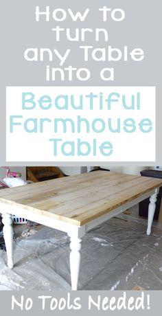 Beat Up Table Turned Beautiful Farmhouse