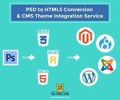 PSD to HTML5 Conversion and CMS Theme Integration Services. #HTML #HTML5 #PSDtoHTML