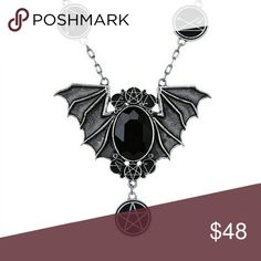 Silver Bat Wings Lovecraft Occult Gothic Necklace Gorgeous!!!! New! features symbols from H.P. Lovecraft's Necronomicon Jewelry Necklaces