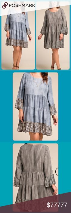 Coming soon! NWT { Plus } Heather Gray/Blue Dress Coming soon! NWT Plus Size Heather Gray / Blue Ruffle Dress or Tunic! Dresses Midi