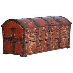 Antique Original Painted Red/Orange Trunk with Wrought Iron, Sweden Dated 1815   From a unique collection of antique and modern trunks and luggage at https://www.1stdibs.com/furniture/more-furniture-collectibles/trunks-luggage/