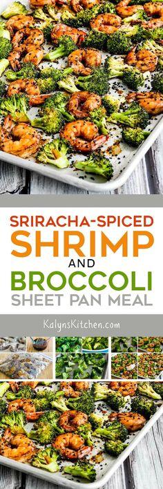 Sriracha-Spiced Shrimp and Broccoli Sheet Pan Meal found on KalynsKitchen.com