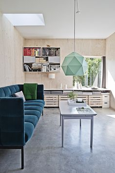 Modern Living Room with plywood walls - undefined Living Room Sets, Living Room Decor, Living Spaces, Basement Remodel Diy, Plywood Walls, Turbulence Deco, Design Studio, Cool House Designs, Architect Design