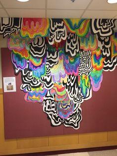 """""""Chromatic Cascade"""" by Jen Stark, Los Angeles Jen Stark herself! Parking Garage Mural by Jen Stark, Los Angeles Jen Stark is a Los Angeles based artist known for h… Middle School Art Projects, High School Art, Mundo Hippie, Collaborative Art Projects, Group Projects, Jen Stark, School Murals, 6th Grade Art, Drip Art"""