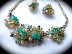 Vintage Hobe Necklace & Earring Set With Teal Green Molded Stones Gold Tone Filigree Multi-Colored Rhinestones and Faux Pearls