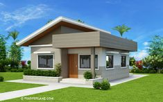 This Two Bedroom Small House Design has a total floor area of 61 square meters that can be built in a 134 square meters lot area. if you have a lot width of 10 meters and meters depth, this de… Two Bedroom House Design, 2 Bedroom House Plans, Cottage Style House Plans, Small House Plans, Flat Roof House Designs, House Roof Design, Simple House Design, Modern Bungalow House, Bungalow House Plans