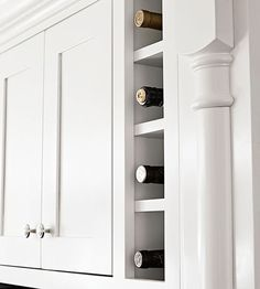 """Wine Storage in a small cabinet - other ideas for """"small"""" kitchens (although not really small. and also fairly expensive and not easily feasible. good for custom kitchens or remodels) Small Kitchen Cabinets, Old Kitchen, Kitchen Layout, Kitchen Design, Small Cabinet, Small Kitchens, Kitchen Ideas, Ranch Kitchen, Dark Cabinets"""