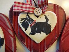ScottishTerrier Hand Painted Wooden Wreath -Scottie Welcome Show the Love!