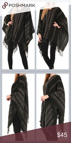 Black tribal pattern fringe poncho Hortington Boutique item! Tribal pattern woven poncho with fringe. Made of 100% viscose. Wear it two ways and with a scarf if you wish; great for fall/autumn/winter. Would make a gorgeous gift/present as well. Check out other items I have available! When you bundle 3 items from my closet in the same transaction, you get a discount and only pay shipping ONCE!! When you bundle 4+, you get that PLUS a FREE GIFT! *Free gift increases in value with each…