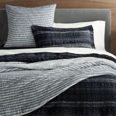 """Sale ends soon. Shop Nagano Seersucker Duvet Covers and Pillow Shams. We're all about """"mingei"""" for the bedroom. Nagano, Green Pillows, White Pillows, King Pillows, Pillow Shams, Throw Pillows, Masculine Bedding, Men's Bedding, Beige Bed Linen"""