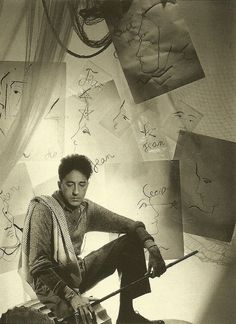 Portrait of French playwright and filmmaker Jean Cocteau, France, photograph by Cecil Beaton. Zine, Kenneth Anger, Erik Satie, Human Poses Reference, Jean Cocteau, Cecil Beaton, Artists And Models, Artist At Work, Art Photography