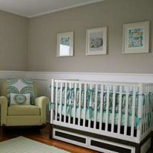 Teal green, blue gray and white modern transitional baby girl nursery