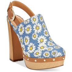 Report Mylie Slingback Platform Clogs (€50) ❤ liked on Polyvore featuring shoes, clogs, heels, daisy denim, high heel slingbacks, studded clogs, clog shoes, retro shoes and retro platform shoes