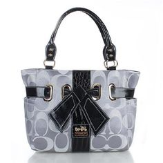 Coach Poppy Bowknot Signature Medium Grey Totes FDE Give You The Best feeling!