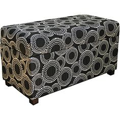 @Overstock - Material: Wood, fabric  Finish: Black Circle Dot Geometric Fabric  Great item to bring new style  http://www.overstock.com/Home-Garden/Contemporary-Black-Circle-Dot-Geometric-Storage-Bench/6359297/product.html?CID=214117 $79.89