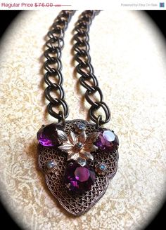 Hey, I found this really awesome Etsy listing at https://www.etsy.com/listing/117135710/on-sale-purple-rhinestone-vintage-brooch