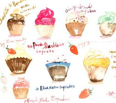 Cupcakes and strawberries - Original watercolor painting - Food art - Fairy cakes - The kitchen collection