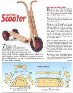 Wooden Scooter Plans - Children's Wooden Toy Plans and Projects Wood Projects For Kids, Woodworking Projects For Kids, Woodworking Toys, Wooden Projects, Wooden Scooter, Wood Toys Plans, Diy Kids Furniture, Wood Games, Homemade Toys