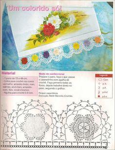 Pano de copa com barrado de croche 8 flores