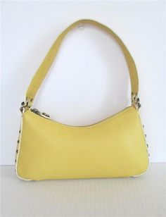 2785e447b6 Cole Haan Village Pebbled Leather Small Studded Yellow Shoulder Bag Purse   ColeHaan  ShoulderBag